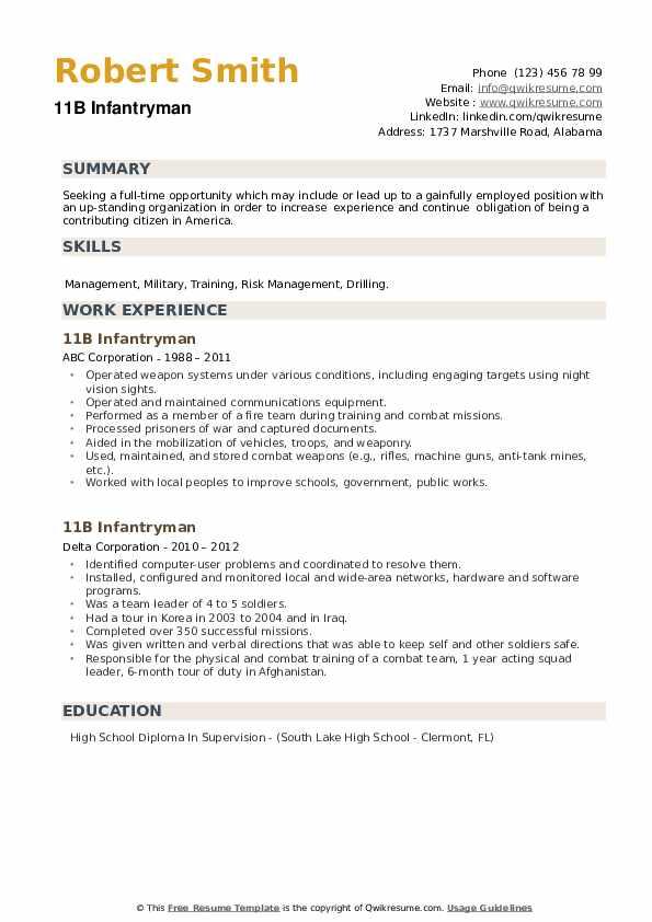11B Infantryman Resume example