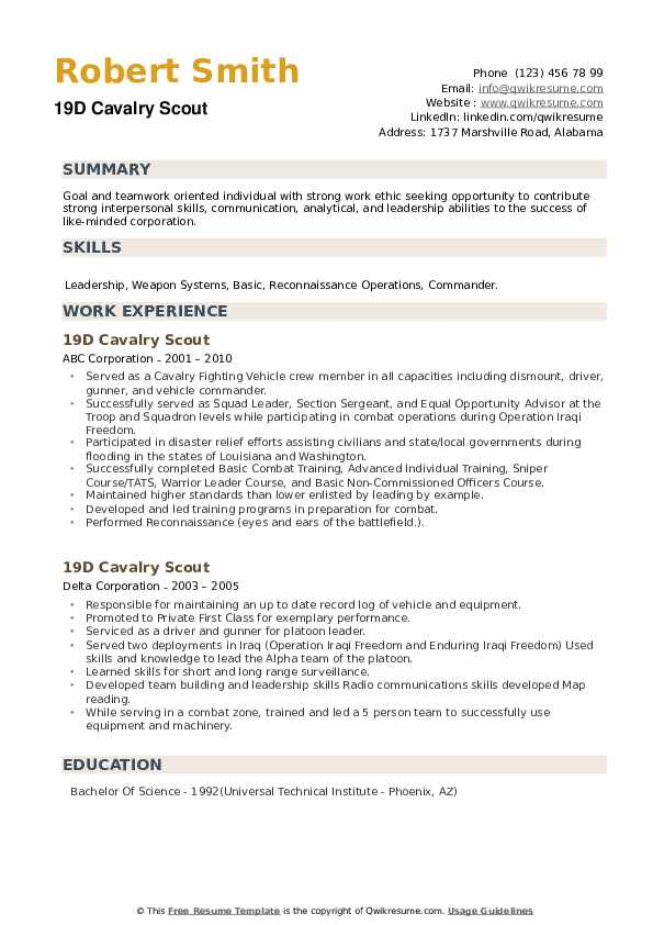 19D Cavalry Scout Resume example