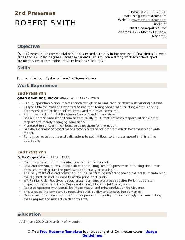 Second pressman resume write me composition business plan