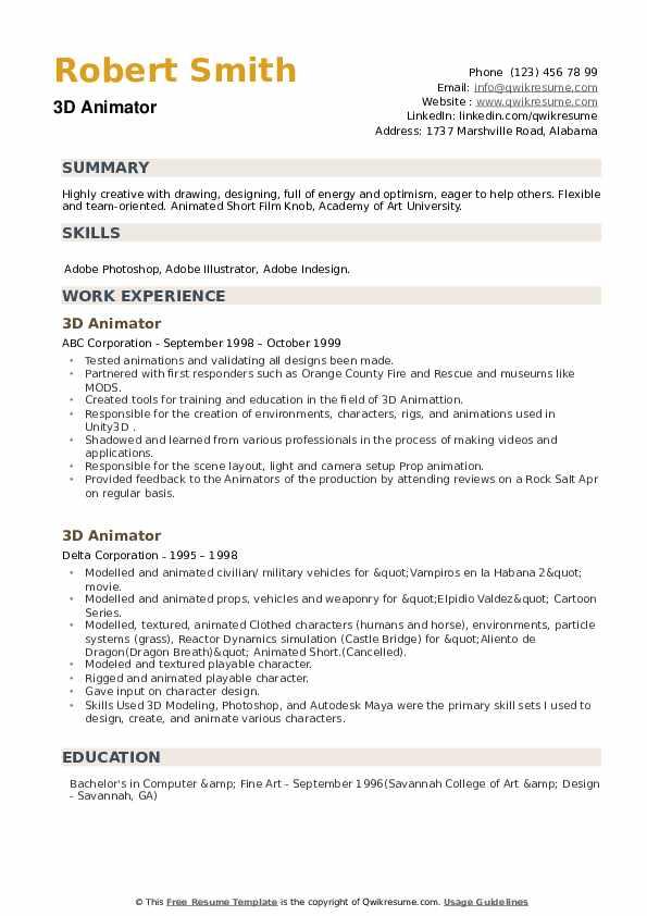 3D Animator Resume example