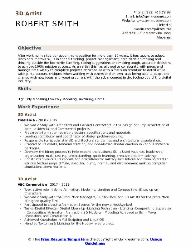 Write 3d artist resume what is the point of a resume objective
