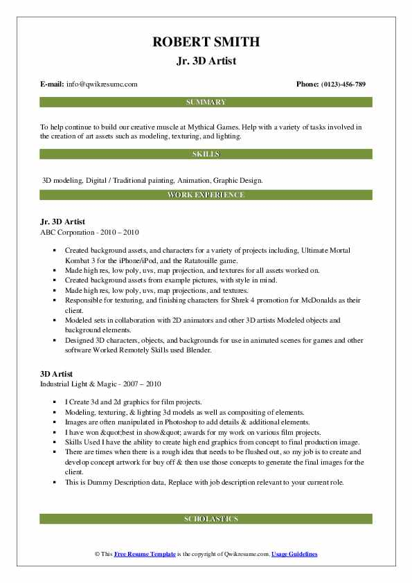 3d artist resume samples  qwikresume