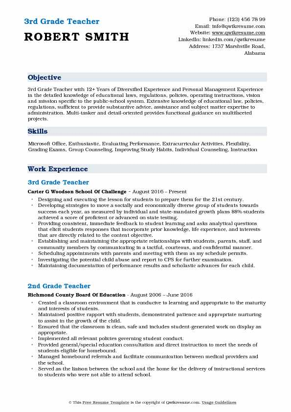 3rd Grade Teacher Resume Sample