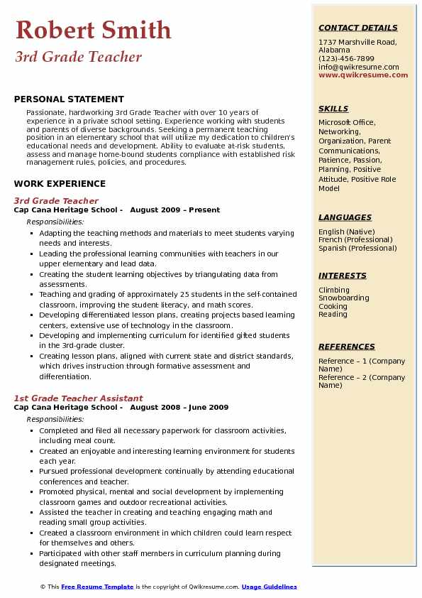 3rd Grade Teacher Resume Format