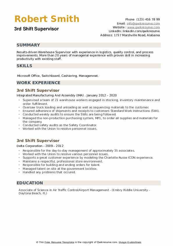 3rd Shift Supervisor Resume example