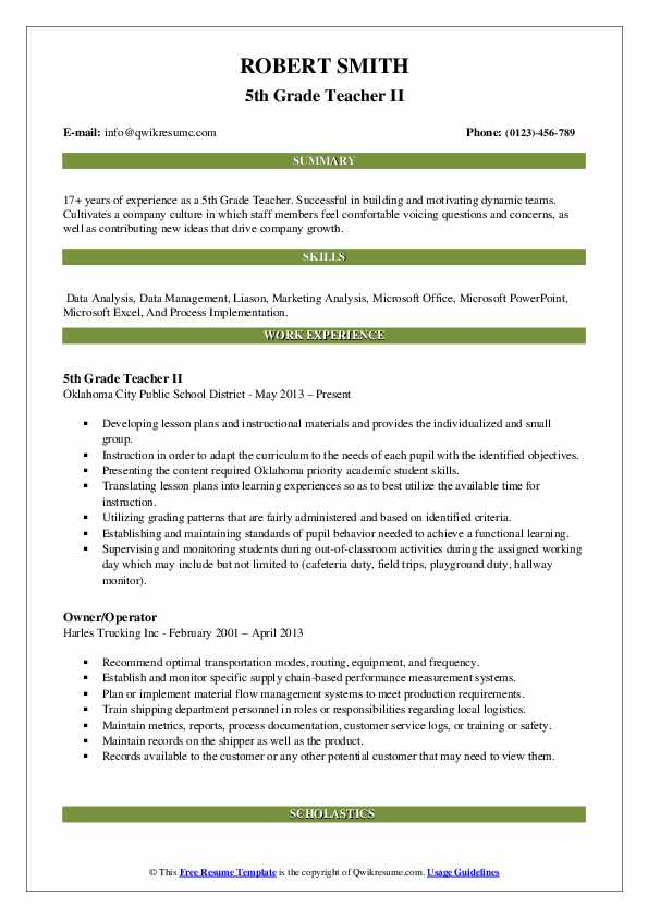 5th Grade Teacher Resume Samples | QwikResume