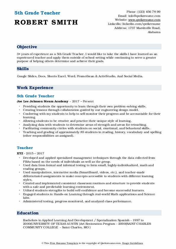 5th grade teacher resume samples