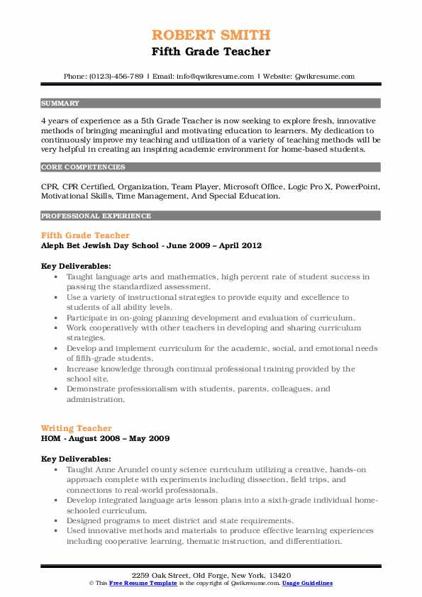 5th Grade Teacher Resume Samples QwikResume