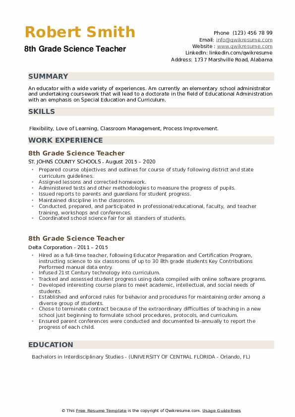 8th Grade Science Teacher Resume example
