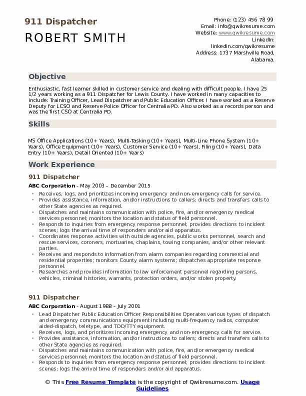 911 dispatcher resume samples