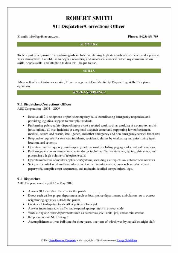 911 Dispatcher/Corrections Officer Resume Example