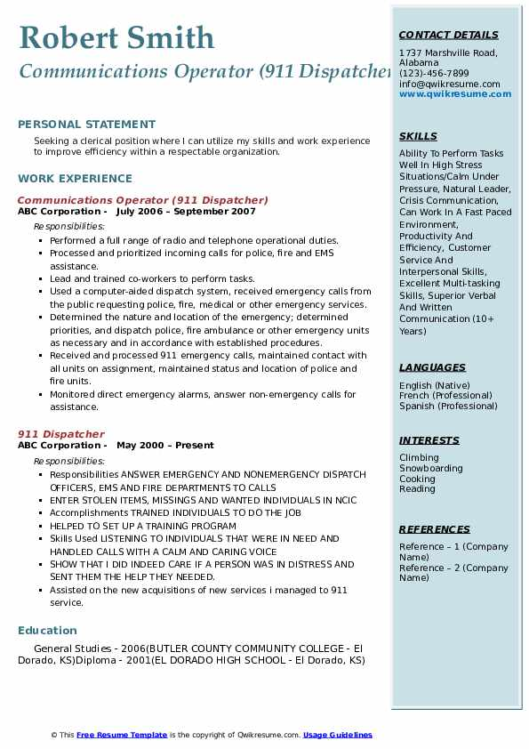 Communications Operator (911 Dispatcher) Resume Model