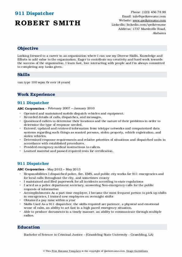 911 Dispatcher Resume Format