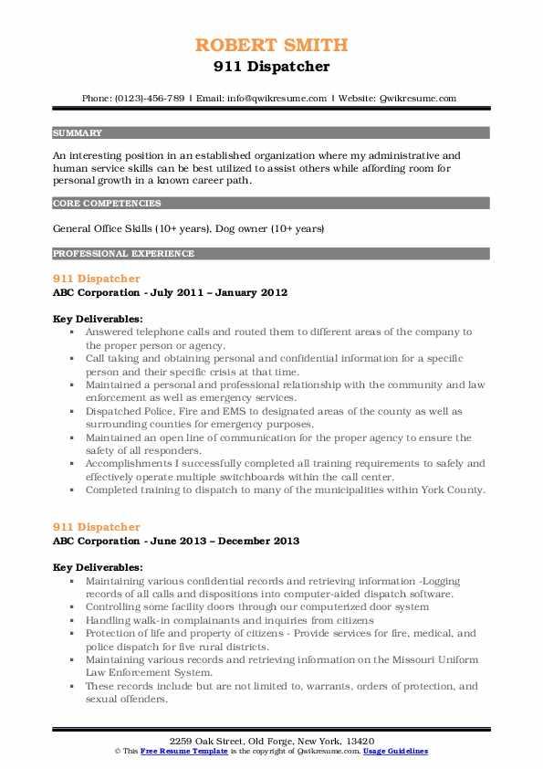 87 911 Dispatcher Resume Objective