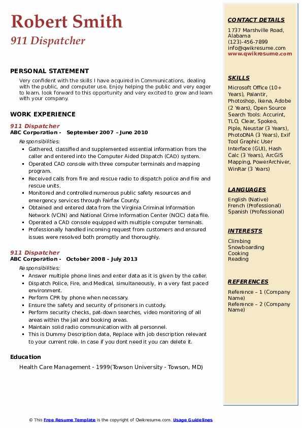 911 Dispatcher Resume Model