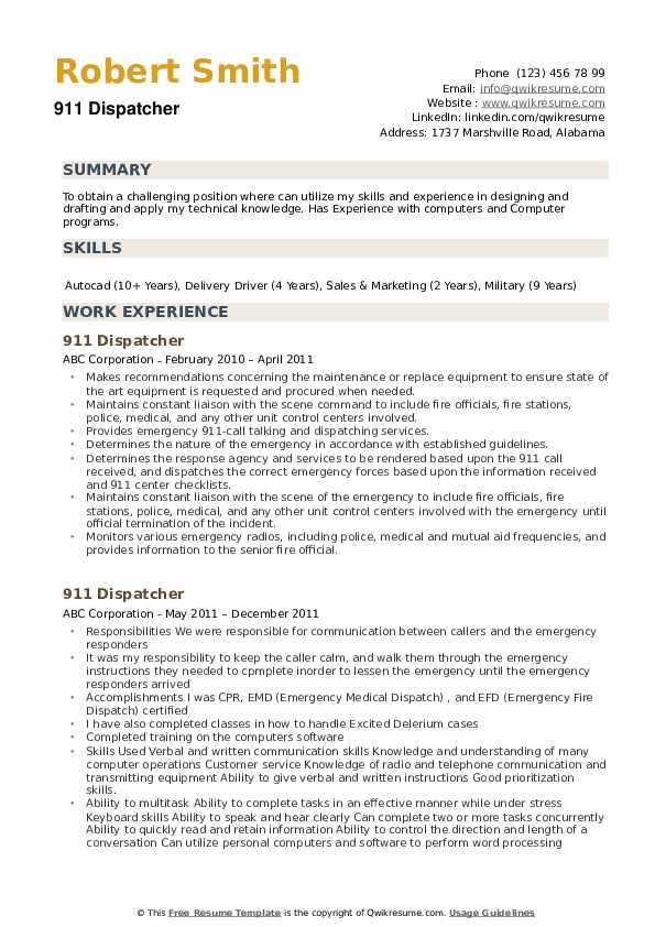 911 Dispatcher Resume Samples Qwikresume