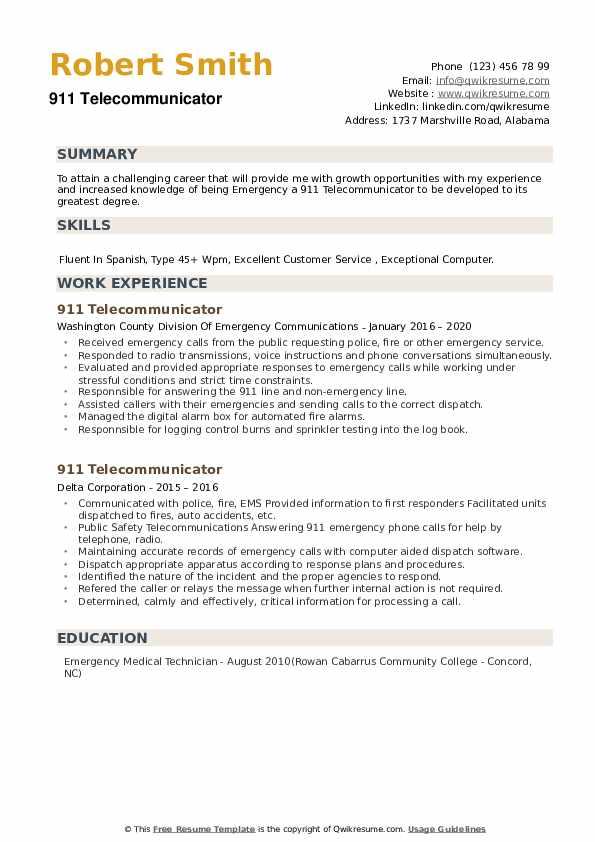 911 Telecommunicator Resume example