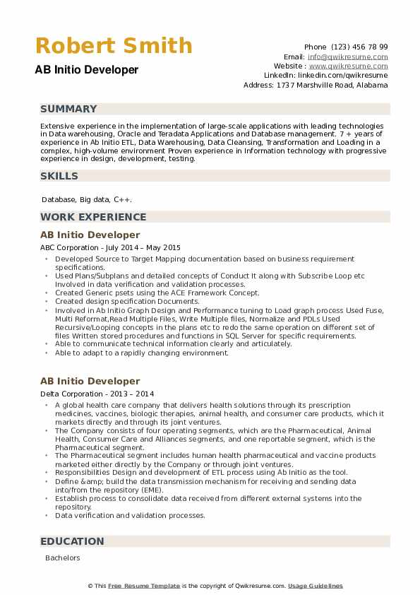 AB Initio Developer Resume example