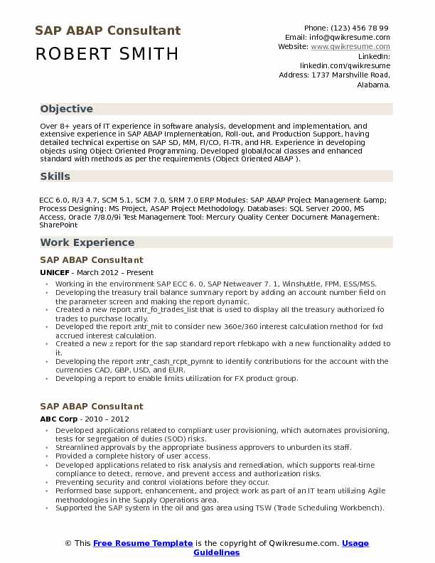 ABAP Consultant Resume Samples | QwikResume