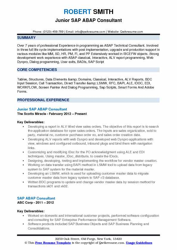 Junior SAP ABAP Consultant Resume Template