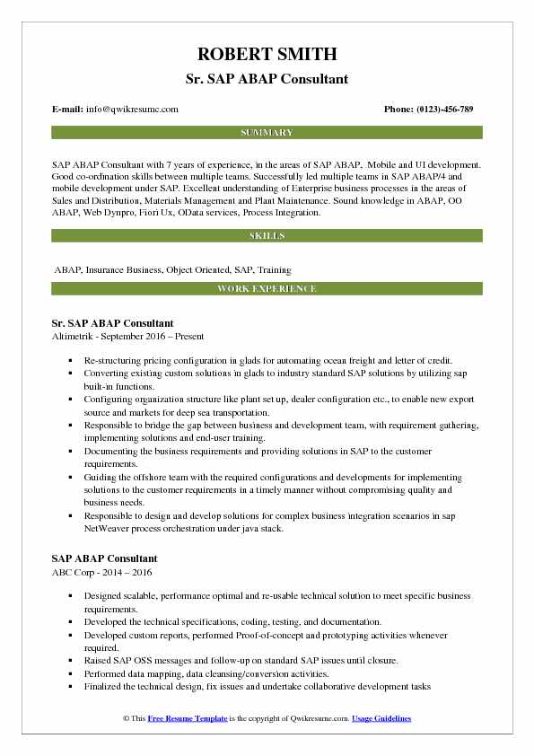 Sr. SAP ABAP Consultant Resume Example