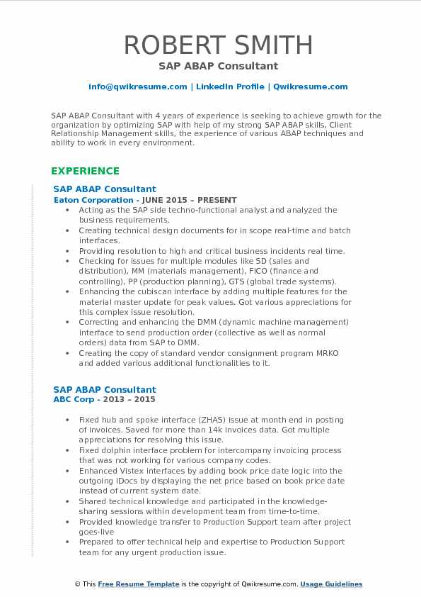 SAP ABAP Consultant Resume Format