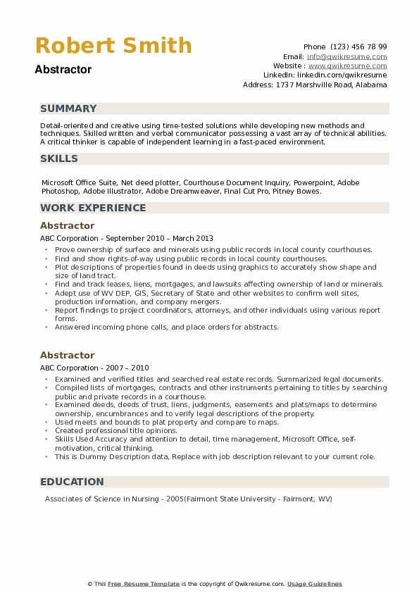 Abstractor Resume example