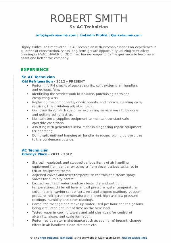 Sr. AC Technician Resume Model
