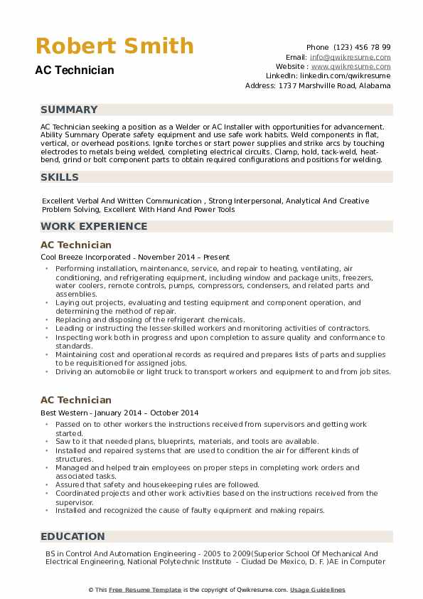 AC Technician Resume Sample
