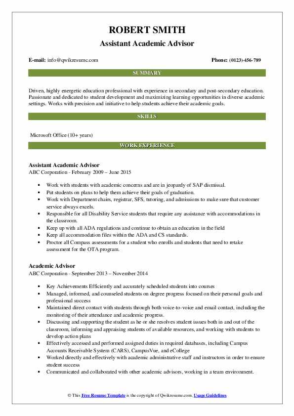 Assistant Academic Advisor Resume Format
