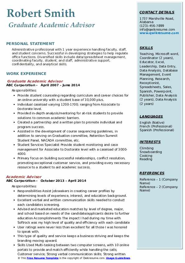 Graduate Academic Advisor Resume Model