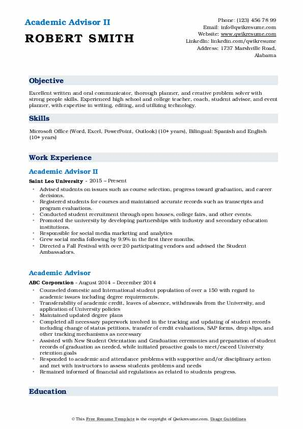 Academic Advisor II Resume Example
