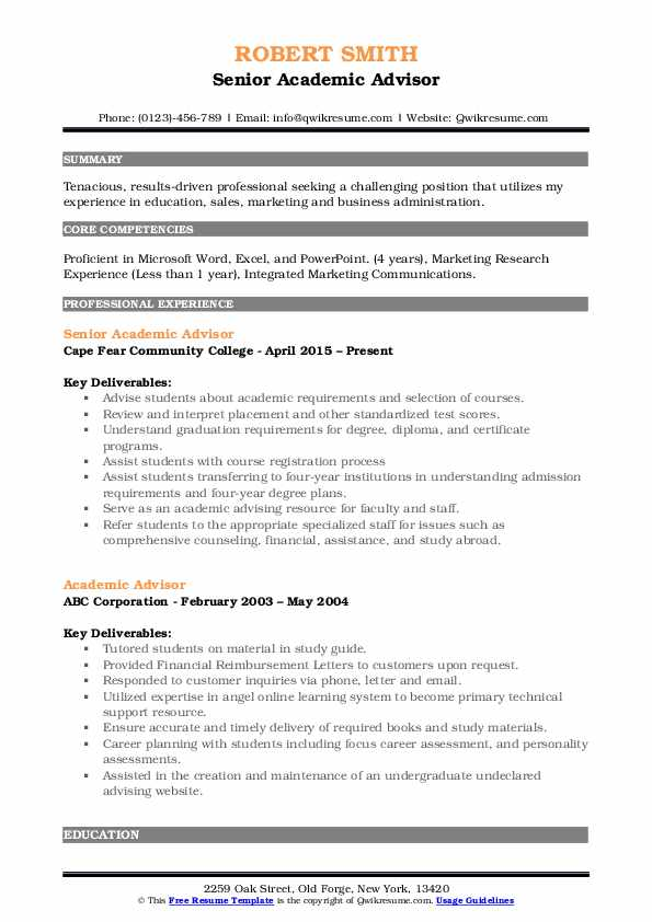 academic advisor resume samples