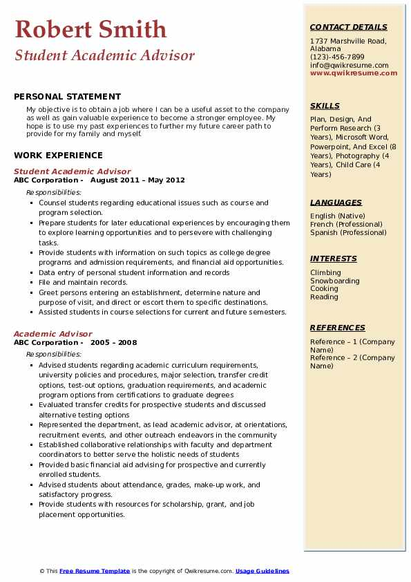 Student Academic Advisor Resume Template