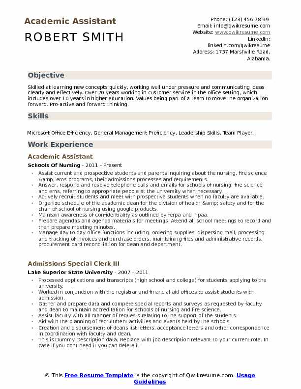 Academic Assistant Resume Model