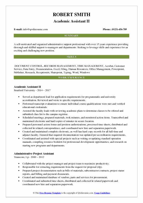 Academic Assistant II Resume Example