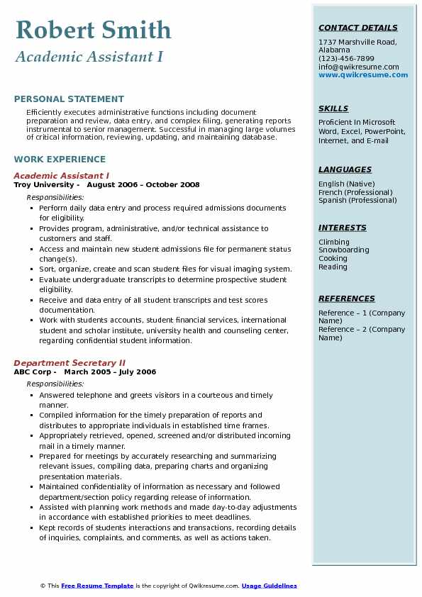 Academic Assistant I Resume Template