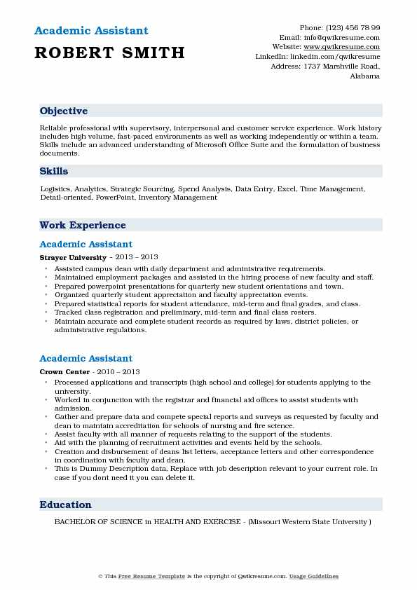 Academic Assistant Resume Sample