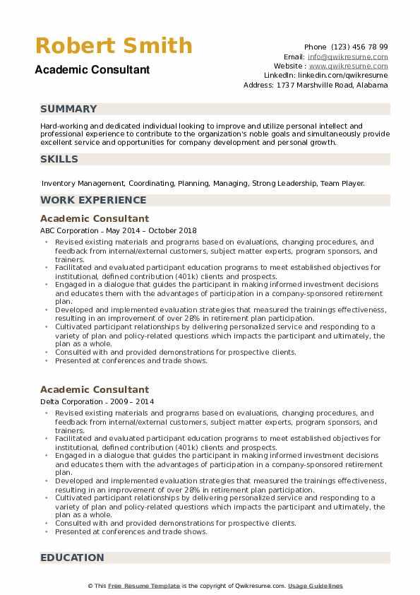 Academic Consultant Resume example