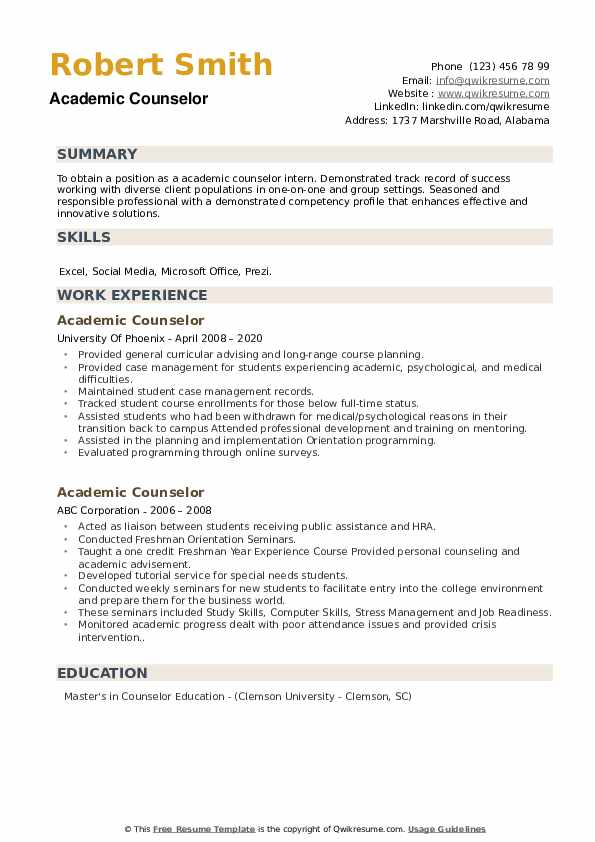 Academic Counselor Resume example