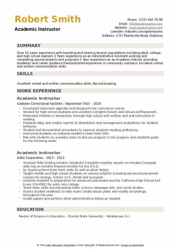 Academic Instructor Resume example