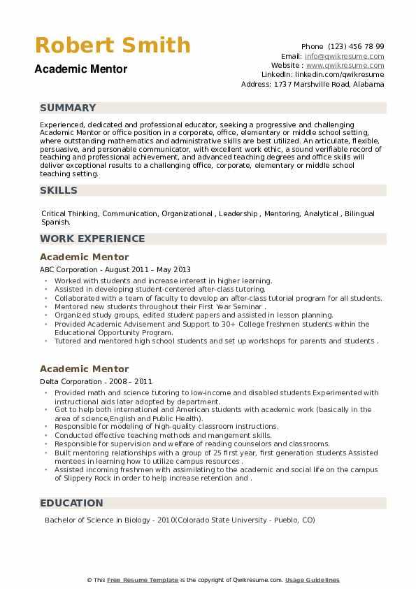 Academic Mentor Resume example