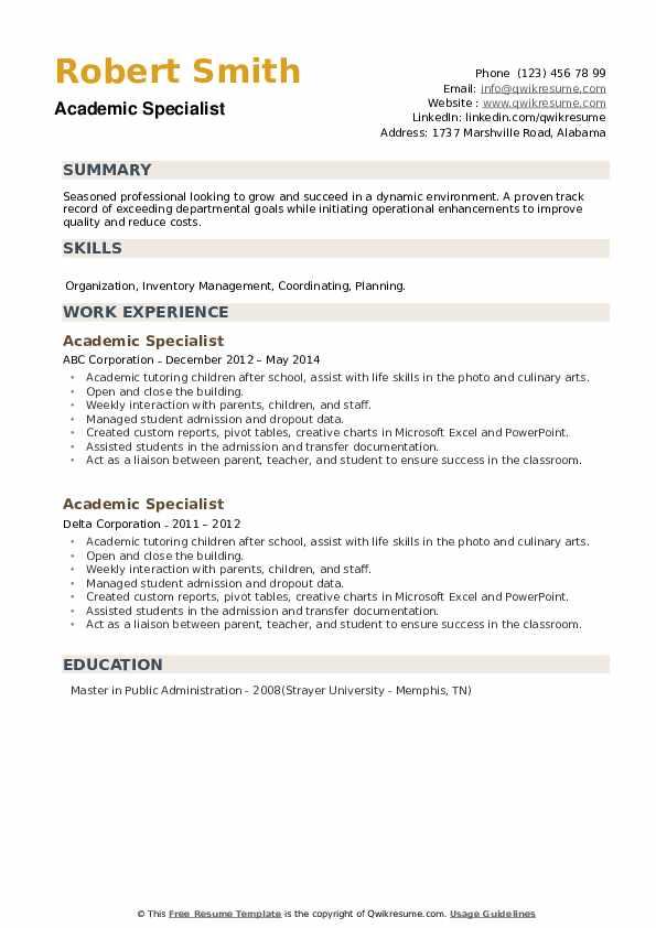 Academic Specialist Resume example