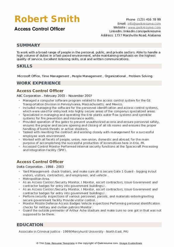Access Control Officer Resume example