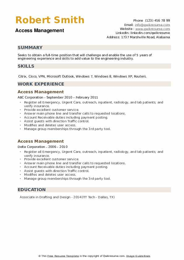 Access Management Resume example
