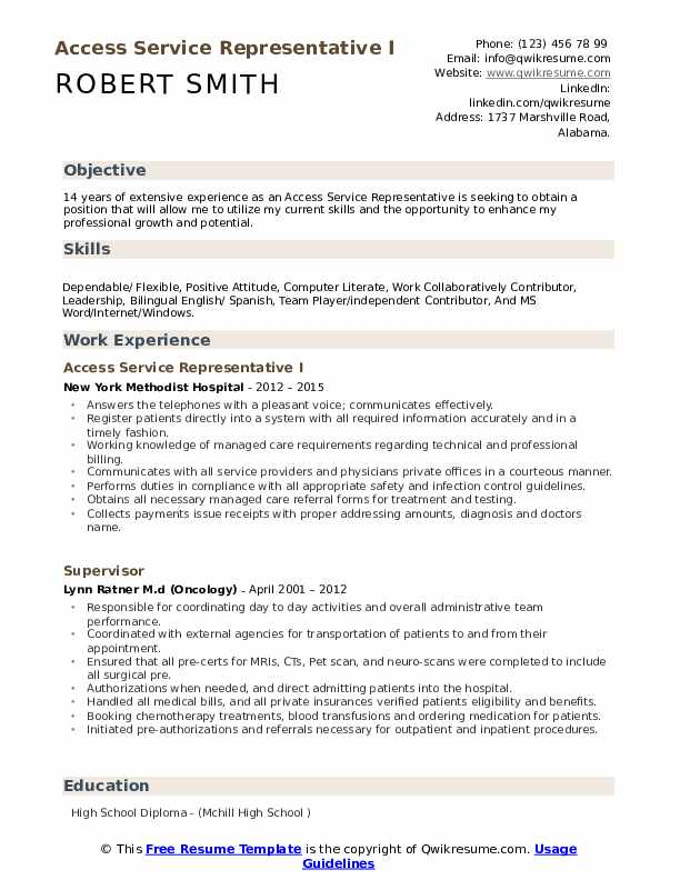 Access Service Representative I Resume Example