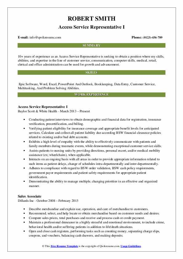 Access Service Representative I Resume Template