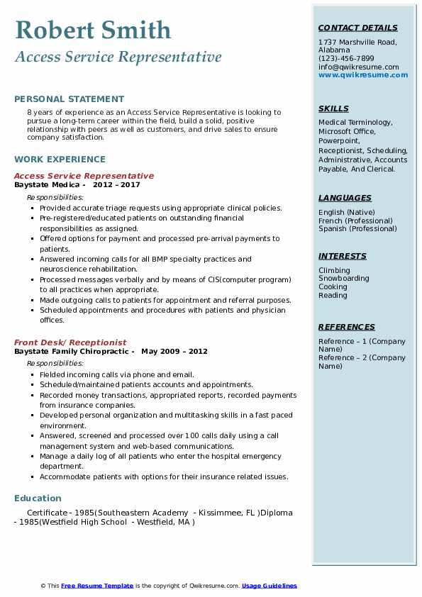 Access Service Representative Resume Template