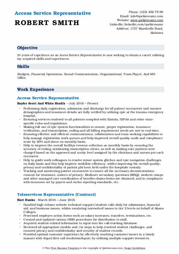 Access Service Representative  Resume Sample