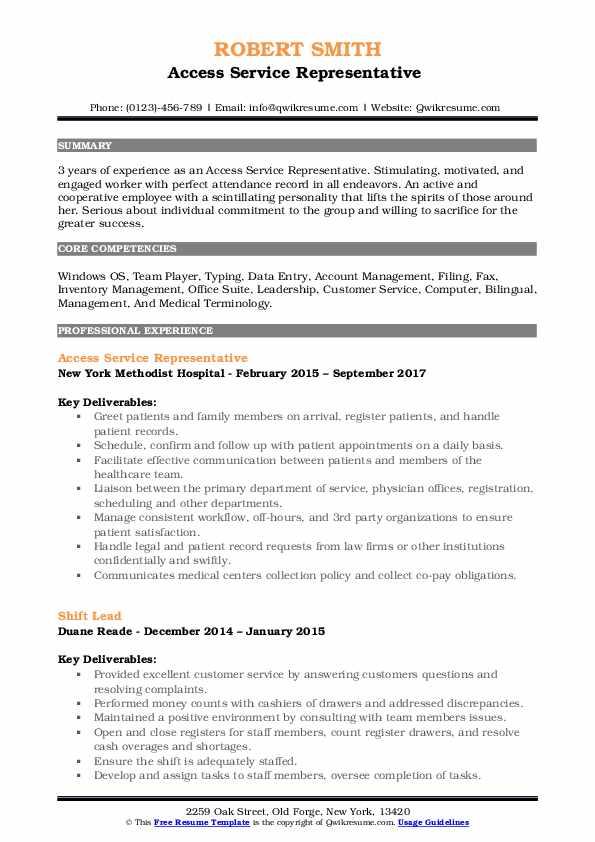 Access Service Representative  Resume Model